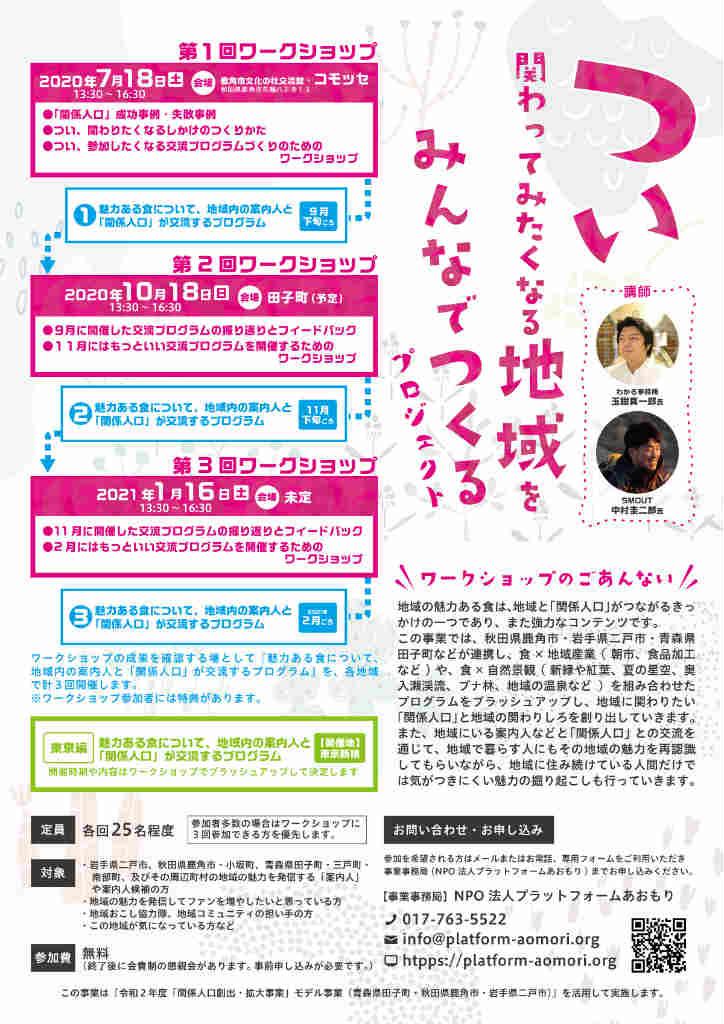 「関係人口創出・拡大事業」モデル事業(青森県田子町・秋田県鹿角市・岩手県二戸市)『つい関わってみたくなる地域をみんなでつくるproject』のチラシを作成しました。